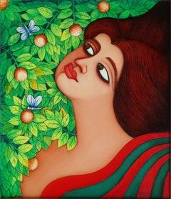 Large eyes women in flower garden wearing a green, red saree by Indian Artist