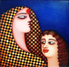 """Mother & Child, Indian, Acrylic on Canvas, Red, Blue, Brown colors """"In Stock"""""""