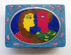 Painting of couple on aluminium box, acrylic, blue, red,yellow, green,pink color
