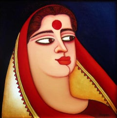 """Woman in a Saree & Red Bindi , Acrylic on Canvas, Red, Blue Colours  """"In Stock"""""""