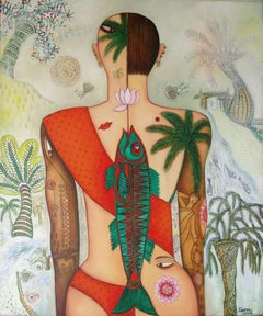 "Women, Acrylic on canvas, Red, Green, Pink, Brown by Indian Artist ""In Stock"""