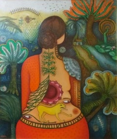 "She, Acrylic, Oil on Canvas, Red, Yellow,Brown, Green by Indian Artist""In Stock"""