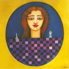 """Women, Chess, Acrylic on canvas, Blue, Yellow, Brown by Indian Artist """"In Stock"""""""