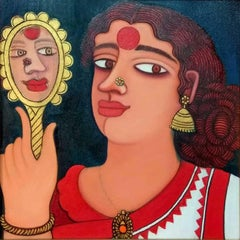 """Women looking at Mirror, Acrylic & Oil on canvas, Red, Yellow, Brown """"In Stock"""""""
