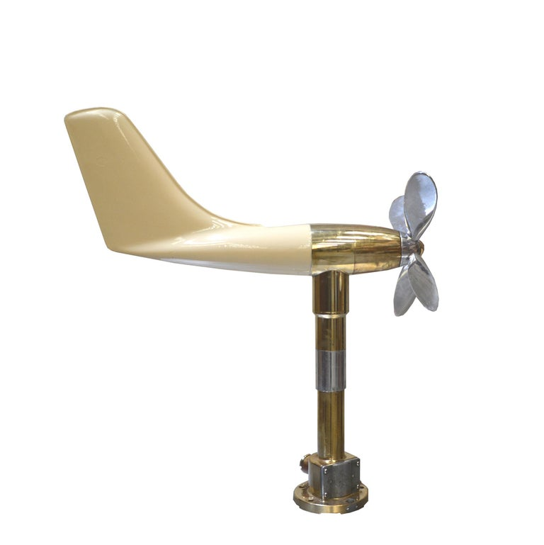 This anemometer was used on ships to measure wind direction and speed. Brass foot and fiberglass body, aluminium propeller. Measures: L 70 / H 77 cm propeller D 35 cm / Base D 15 cm 11.5 kg We have another same piece with aluminium propeller and