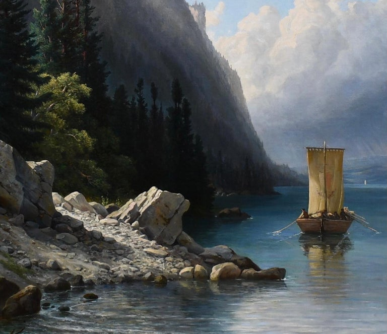 Jakob Josef Zelger (Swiss, 1812-1885) Ships Approaching the Shore on an alpine lake, most likely in Switzerland signed 'J Zelger' (lower left) Provenance: Christies NYC October 2007  Oil on canvas, measuring 47.5