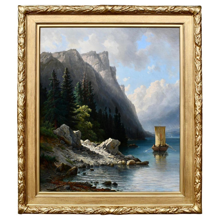 """""""Ships Approaching the Shore"""" by Jakob Josef Zelger For Sale"""