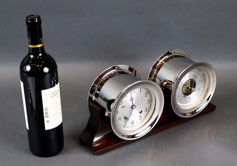 20th Century Ship's Bell Clock and Barometer by Chelsea Clock Co. For Sale