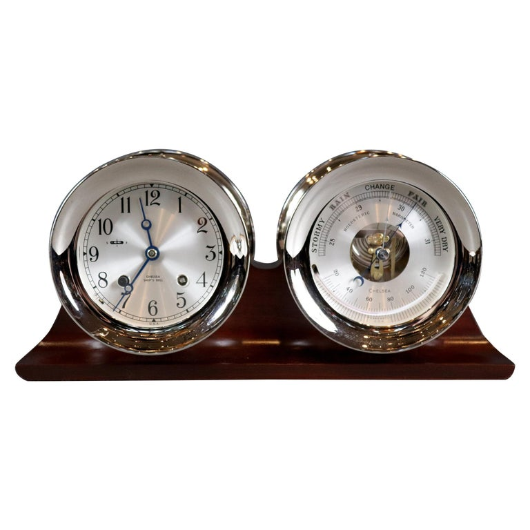 Ship's Bell Clock and Barometer by Chelsea Clock Co. For Sale