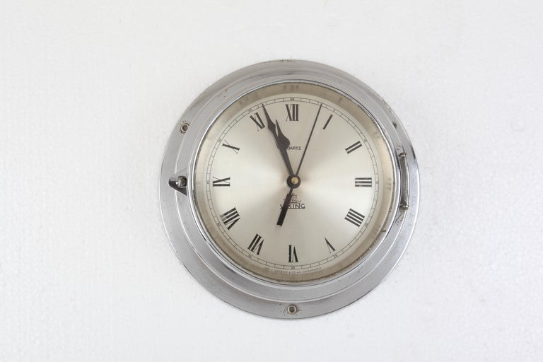 Industrial Ship's Chrome Wall Clock by Viking, 1970s, Denmark For Sale