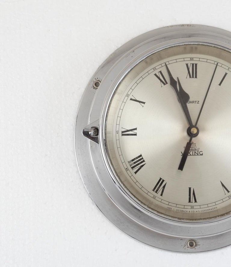 Ship's Chrome Wall Clock by Viking, 1970s, Denmark In Good Condition For Sale In Nantucket, MA