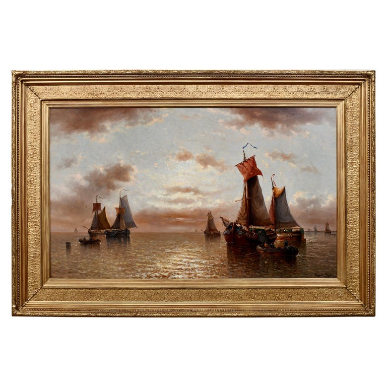 """Ships in the Calm Harbor"" by Auguste Henri Musin For Sale"