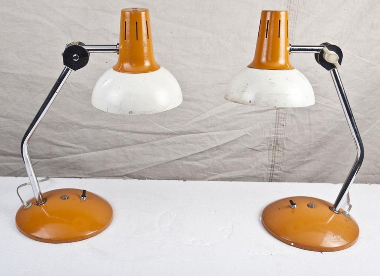 Mid-Century Modern Ship's Nautical Adjustable Desk Lights with Original Paint, Russian, Midcentury For Sale