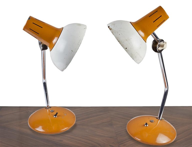 20th Century Ship's Nautical Adjustable Desk Lights with Original Paint, Russian, Midcentury For Sale
