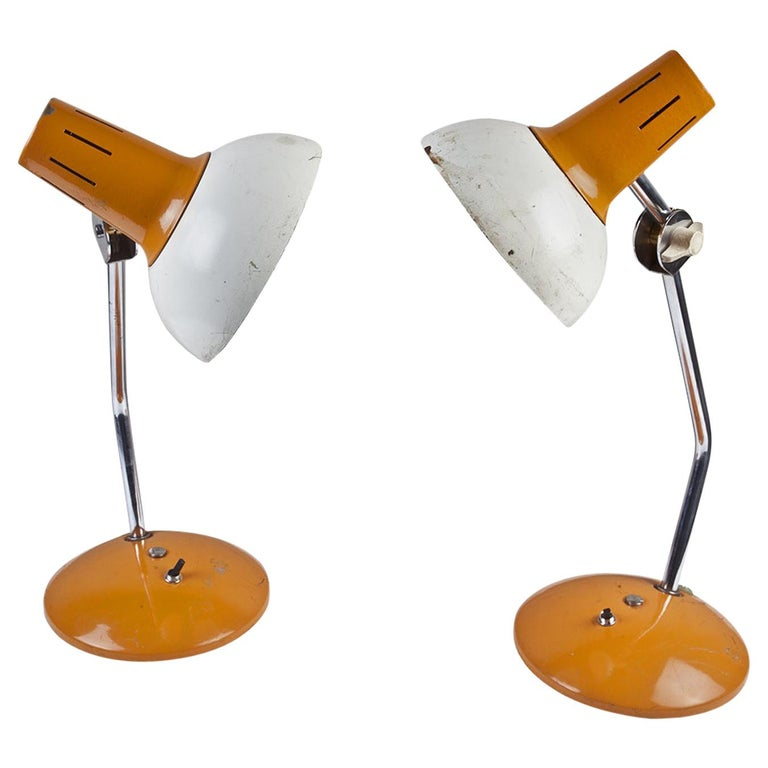 Ship's Nautical Adjustable Desk Lights with Original Paint, Russian, Midcentury For Sale