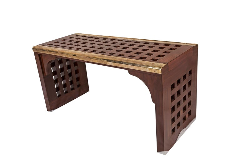 Contemporary Ship's Nautical Teak Decking Waterfall Coffee Table or Bench For Sale