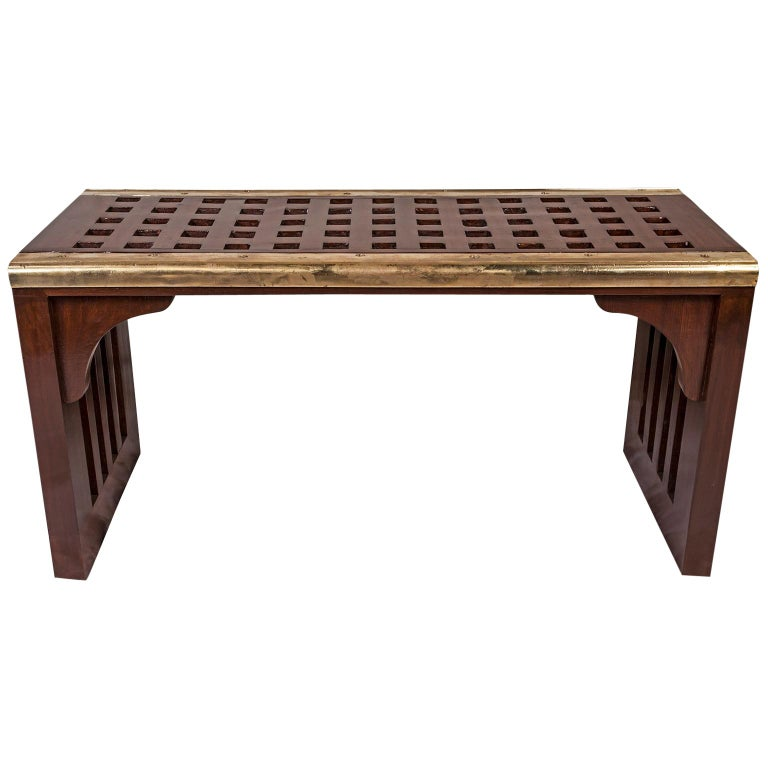 Ship's Nautical Teak Decking Waterfall Coffee Table or Bench For Sale