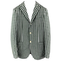 SHIPS Size 34 Green Black & White Plaid Cotton Notch Lapel Sport Coat