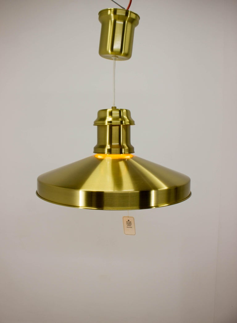 Never used Shipslamp by Sidse Werner for Holmegaard, 1970s, originally packed. Measures: Adjustable height, max. 144cm, min. 45cm. Bulb cover from milk glass.