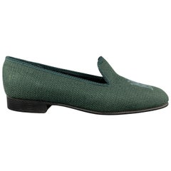 SHIPTON Size 8 Forest Green Woven Silk Embroidery Slippers Loafers