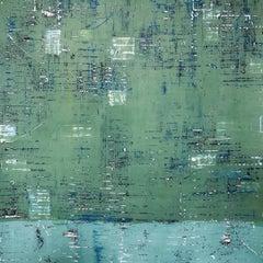 Large Green Venetian Plaster Modern Minimalist Painting by Shira Toren - Cactus