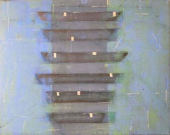 Gray & Blue Venetian Plaster Modern Minimalist Painting by Shira Toren -Gondolas