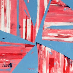 Red & Blue Venetian Plaster Square Abstract Painting by Shira Toren - Parasol 3