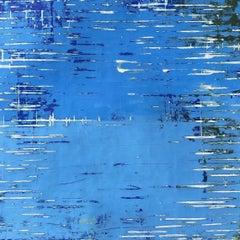 Square Venetian Plaster Modern Minimalist Painting by Shira Toren - Rising Blue