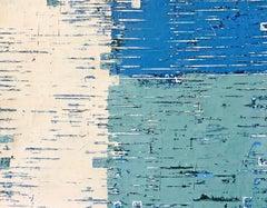 Blue Venetian Plaster Modern Minimalist Painting by Shira Toren - Rising Waters