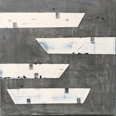 Contemporary Minimalist Painting Gray Venetian Plaster by Shira Toren - Vessels