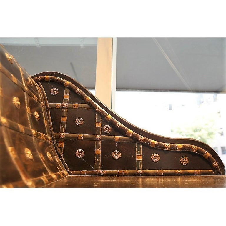 Modern Shirazi Brass Daybed, Contemporary Chaise in Vintage Persian Style For Sale