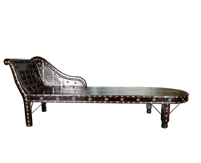 European Shirazi Brass Daybed, Contemporary Chaise in Vintage Persian Style For Sale