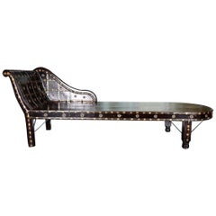 Shirazi Brass Daybed, Contemporary Chaise in Vintage Persian Style