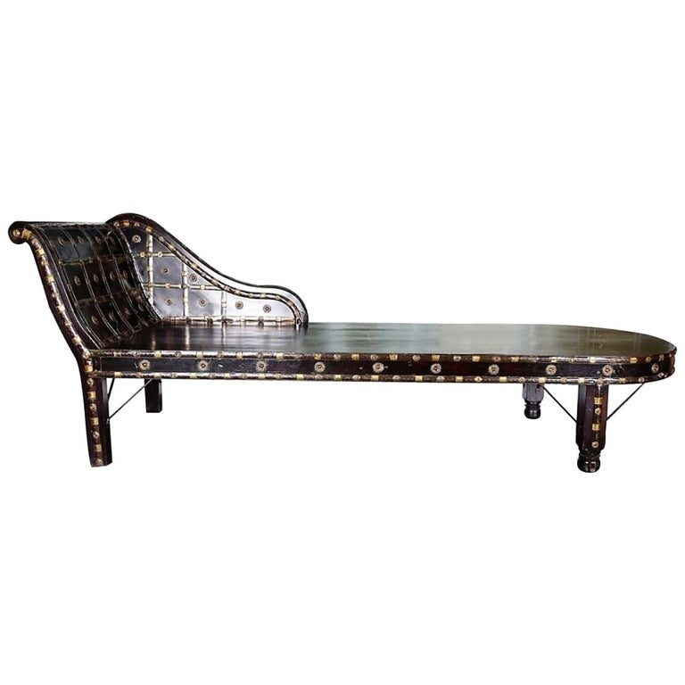 Shirazi Brass Daybed, Contemporary Chaise in Vintage Persian Style For Sale