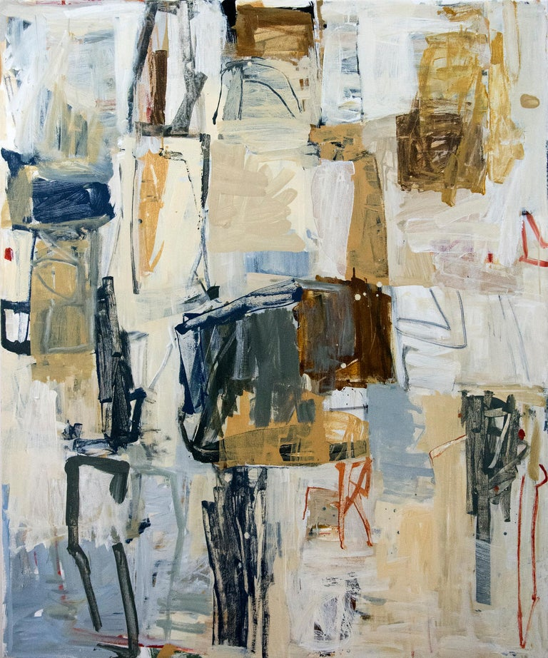 Passages of ochre, dove grey, black and white form a compressed narrative in this elegant composition by Shareen Kamran.  Shireen Kamran (b. 1954, Lahore, Pakistan) creates lyrical and dramatic works reflecting restless mobility, a sensitivity to