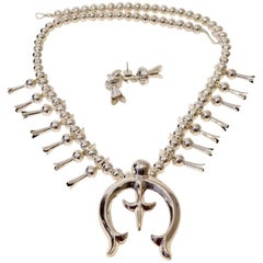 Shirley Johnson Navajo Sterling Squash Blossom Necklace and Earrings Set