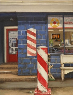 """""""Barbers"""" original oil painting, cityscape, photorealism, by Shirley Masinter"""