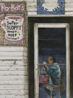 """Elizabeth's"" original watercolor, photorealism, building, signs, New Orleans"