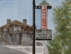 """Foreign"" original watercolor, signs, city scene, photorealism, hyperrealism"