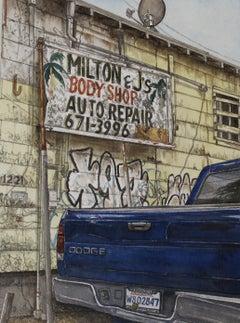 """Milton & J's"" original watercolor, signs, city scenes, photorealism"