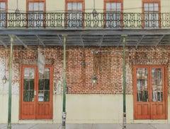 """Red Doors"" original watercolor, New Orleans balcony, iron lattice, photorealism"