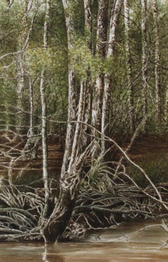 """Swamp Trees"" original watercolor, trees, forest, photorealism, hyperrealism"