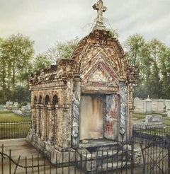 """""""Theophile Prudhomme"""" Louisiana cemetery, oil painting"""