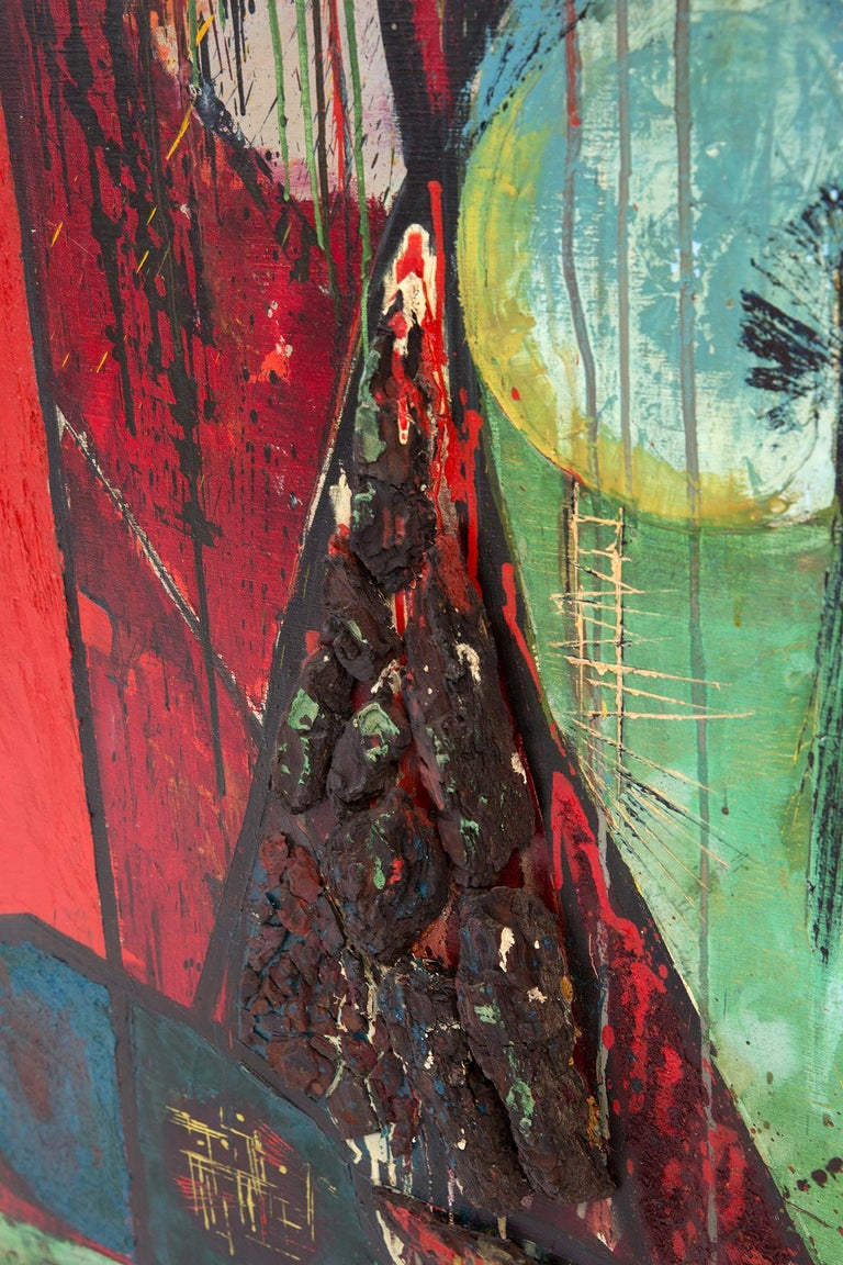 Mid-Century Modern Shiro Ikegawa Abstract Red Tree Painting For Sale