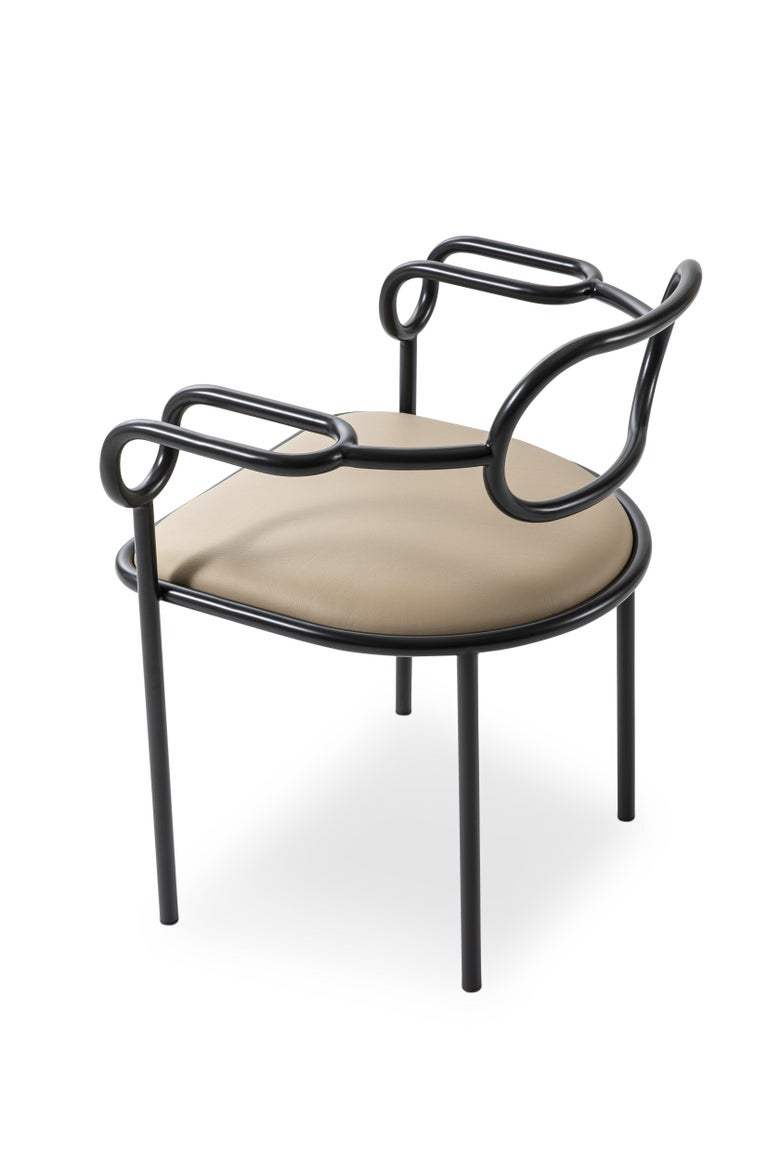 Modern Shiro Kuramata 01 Chair in Anthracite Base and Cream Leather Seat for Cappellini For Sale
