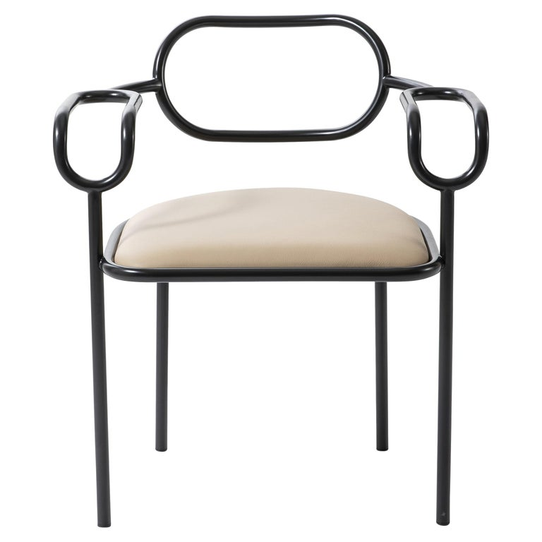 Shiro Kuramata 01 Chair in Anthracite Base and Cream Leather Seat for Cappellini For Sale