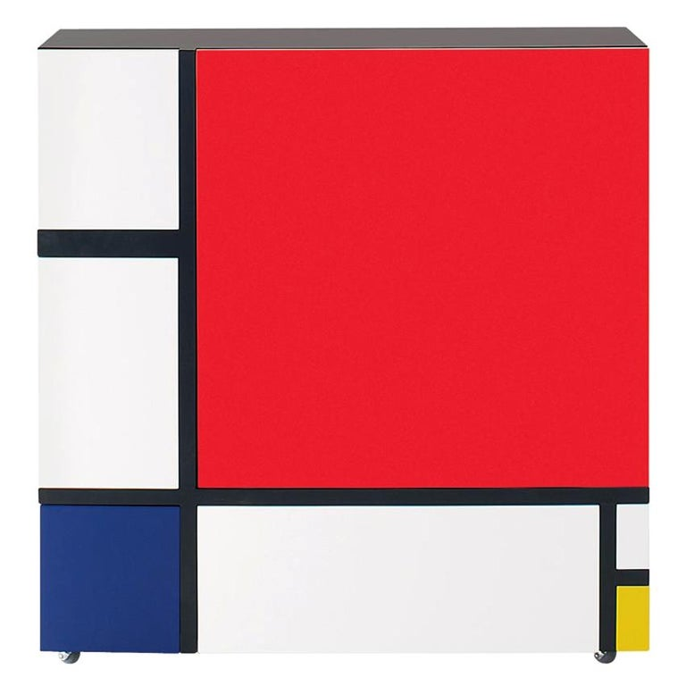 Shiro Kuramata Homage to Mondrian Red and Blue Cabinet for Cappellini For Sale