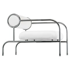 Shiro Kuramata Sofa With Arms in Chromed Tubular Metal for Cappellini