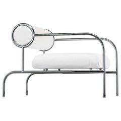 Shiro Kuramata Sofa with Arms in White Leather and Metal Base for Cappellini