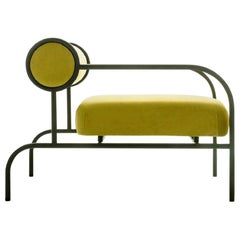 Shiro Kuramata Velvet Sofa in Alchemilla with Arms Black Edition for Cappellini
